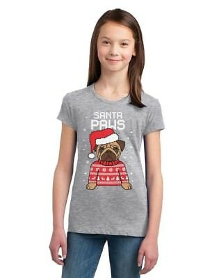Kids Ugly Christmas Sweater (Santa Paws Pug Ugly Christmas Sweater Dog Girls' Fitted Kids T-Shirt)
