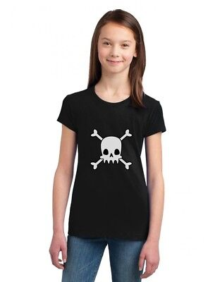 Girl Halloween Ideas (Skulls Cross-bones Cute Halloween Girls' Fitted Kids T-Shirt Gift)