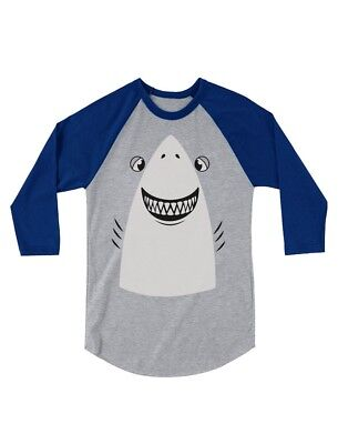 Great White Shark Halloween Costume 3/4 Sleeve Baseball Jersey Toddler - Toddler Baseball Halloween Costume