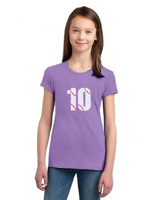 10th Birthday Gift for Ten Year old Baseball Fan Girls' Fitted Kids T-Shirt 10