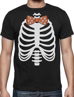 Skeleton Xray Rib Cage Skulls Bow Tie Halloween Costume T-Shirt Gift Idea