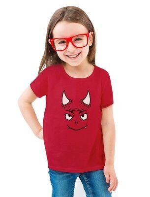 Cute Little Red Devil Halloween Easy Costume Toddler/Kids Girls' Fitted T-Shirt - Little Red Devil Halloween Costume