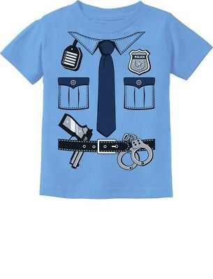 Police Cop Uniform Halloween Costume Policeman Suit Toddler Kids T-Shirt  (Toddler Police Uniform)