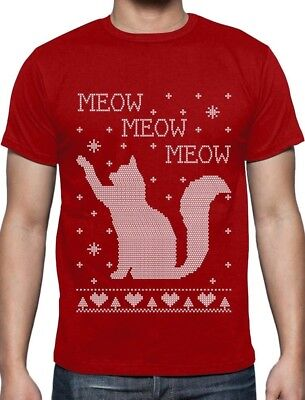 Cat Ugly Christmas Sweater Meow Purr Cute Xmas Apparel T-Shirt Best Gift ()