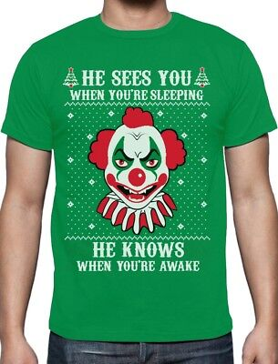 Ugly Christmas Scary Evil Killer Clown Joker Horror Movie T-Shirt IT](Scary Killer Clowns)