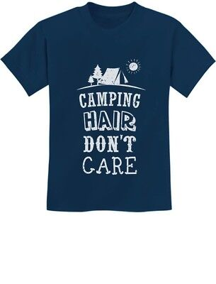 Camping Hair Don't Care Funny Camping Youth Kids T-Shirt Camper Gifts