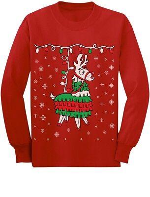 Llama Pinata Ugly Christmas Sweater Toddler/Kids Long sleeve T-Shirt Cinco De](Toddler Pinata)