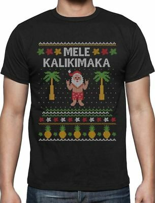 Mele Kalikimaka Hawaiian Santa Themed Ugly Christmas Sweater T-Shirt Gift Idea ()