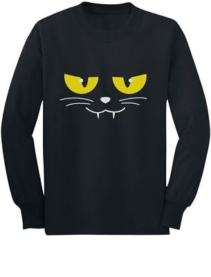 Easy Cat Faces Halloween (Halloween Evil Cat Face Easy Costume Cute Toddler/Kids Long sleeve T-Shirt)