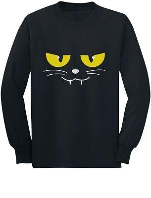 Halloween Evil Cat Face Easy Costume Cute Toddler/Kids Long sleeve T-Shirt Gift