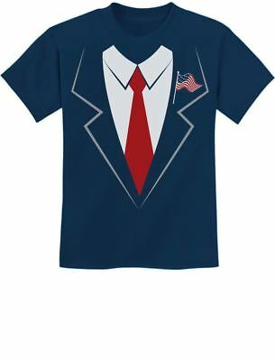 Donald Trump Suit & Tie Easy Halloween Costume Youth Kids T-Shirt Funny