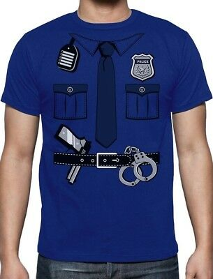 Cop Halloween Costume For Men (East Halloween Costume Printed T-shirt For Men Police Cop - FAST SHIPPING ! -)