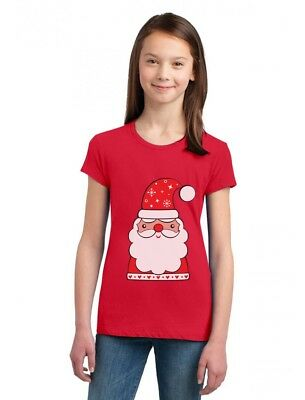 Cute Santa Claus Outfit For Christmas Girls' Fitted Kids T-Shirt  - Cute Christmas Outfits For Kids