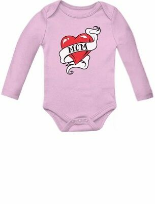 Mom Heart Tattoo Valentine's Day Gift Love Mommy Cute Baby Long Sleeve Bodysuit](Mom Heart Tattoos)