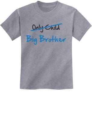 Only Child to Big Brother Baby Announcement Gift Youth Kids T-Shirt XS S M L