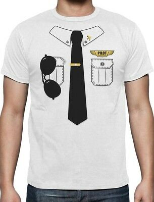 Halloween Pilot Easy Costume Printed Suit TIe T-shirt Funny Lazy Men L](Funny Halloween Costumes Original)