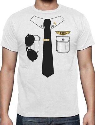 Halloween Pilot Easy Costume Printed Suit TIe T-shirt Funny Lazy Men L