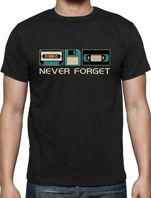 Never Forget Music Novelty Funny Retro T-Shirt Cassette Floppy Disk Geek  S 5XL
