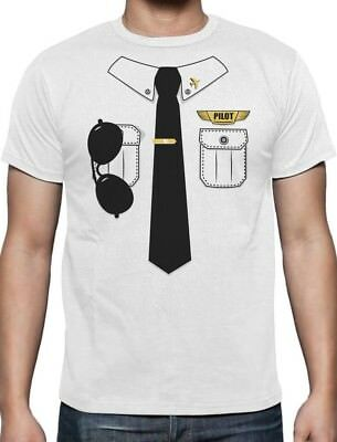 Halloween Pilot Easy Costume Printed Suit TIe T-shirt Funny Lazy Men S M L XL