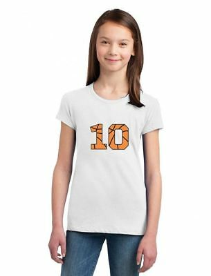 Basketball 10th Birthday Gift for Ten Year old Girls' Fitted Kids T-Shirt 10 old