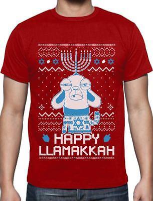 - Funny Jewish Hanukkah Happy LlamaKkah Ugly Christmas T-Shirt Gift