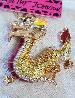 Betsey Johnson Purple Oriental Dragon Pendant Necklace Sweater Chain
