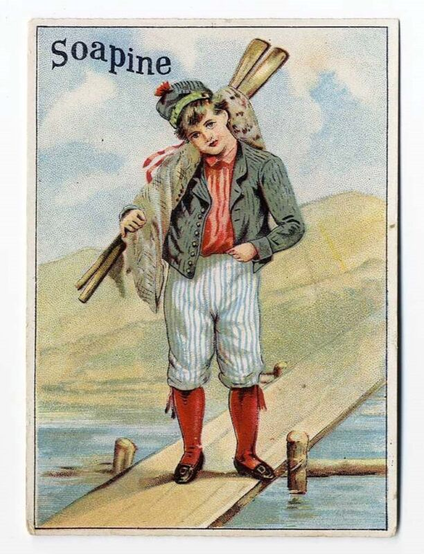 SOAPINE Soap Young Man Going Rowing Paddles VICTORIAN Trade Card 1880