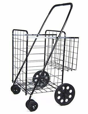 Jumbo Shopping Cart W Double Basket And Swivel Wheels With Matching Black Liner