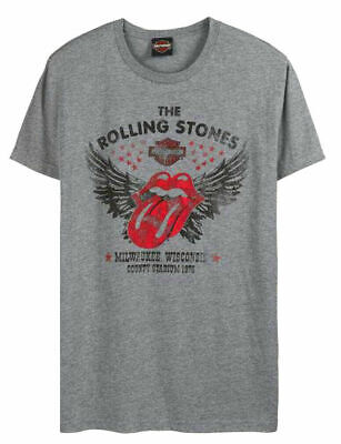 Genuine Harley-Davidson Mens Winged, Rolling Stones T-shirt, S