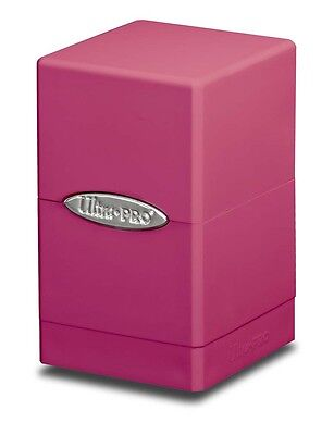 Bright Pink Satin Tower Deck Box [NEW] Gaming Trading Playing Card Holder Magic ()