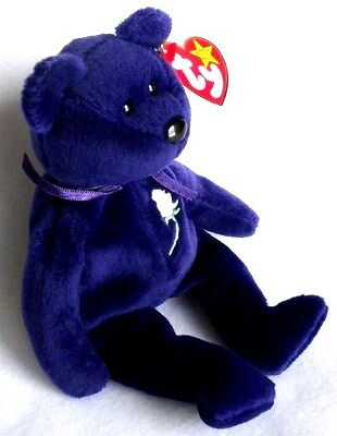 Plush Royal Purple Princess Diana Beanie Baby Bear  PVC Pellets 1st Edition MINT