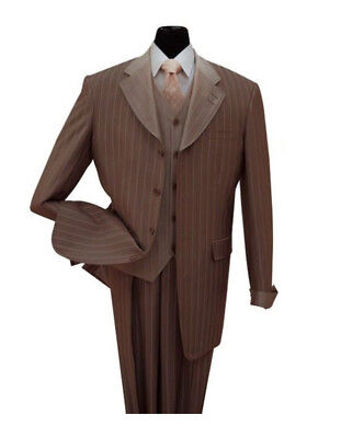 Men's Luxurious Gangster Pin-Striped Four Button Suit w/ Vest 2911V Brown - Gangster Vest