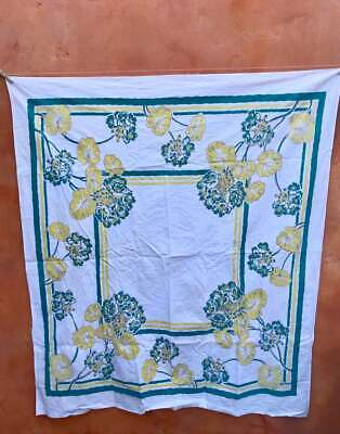 Vintage 1940s Floral Tablecloth 1950s kitchen Teal Green Yellow 42x50