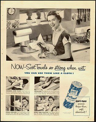 1950 Vintage ad for Scot Towels/50's Kitchen/Fashion in ad (032213)