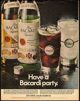 1970 Vintage ad for BACARDI Puerto Rican Rum/Coke (031013)