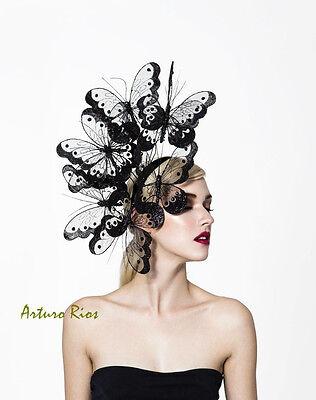 Black butterflies headpiece, couture derby hat, melbourne cup fascinator