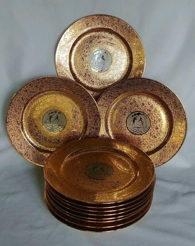 """Vintage Set of Eleven 22 Karat Gold Encrusted IMPERIAL  Porcelain Plates 8""""-D"""