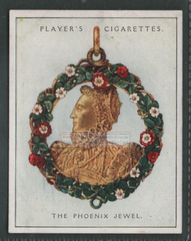 Queen Elizabeth Bust Phoenix Jewel Pendant 1930s Ad Trade Card
