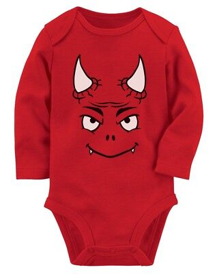 Halloween Easy Costume Cute Little Red Devil Baby Long Sleeve Bodysuit Funny](Cute Easy Costume)