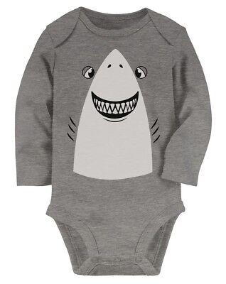 Great White Shark Easy Halloween Costume Cute Baby Long Sleeve Bodysuit Gift
