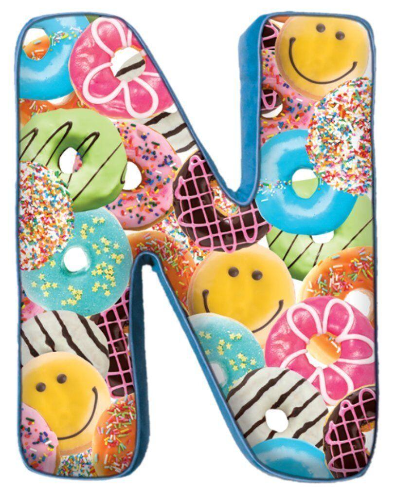 "iscream Lettermania N Initial 16"" Happy Donut Print Fleece B"