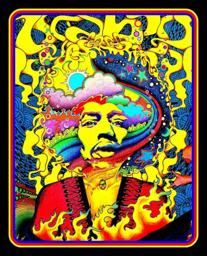 "4.25"" Jimi Hendrix Stone Free vinyl sticker. Hippie art decal for car, guitar."