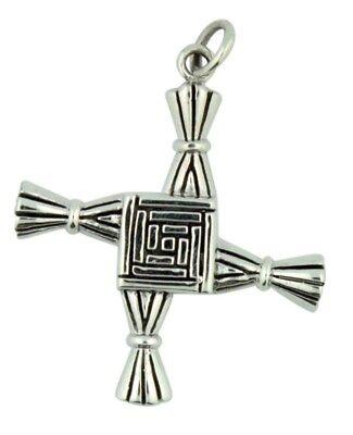 Saint Brigit Of Kildare St Brigids Cross 1 5 16 Inch Sterling Silver Pendant