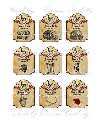 Halloween apothecary 9 bottle jar labels human ears skull brain heart ribs - Blood Label Halloween