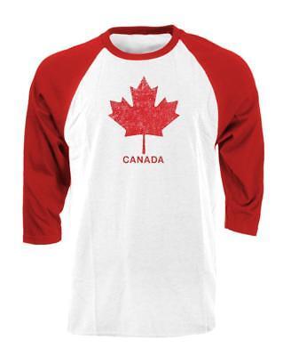 CANADA MAPLE LEAF - Unisex Cotton 3/4 Sleeve Raglan T-Shirt Canada Unisex T-shirt