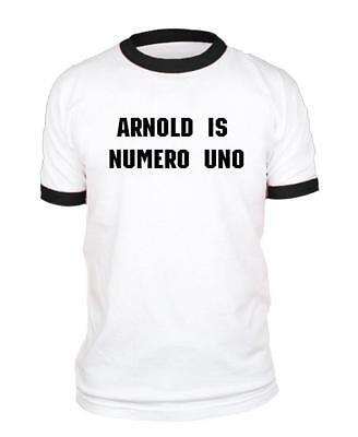 ARNOLD IS NUMERO UNO - Unisex Cotton Retro Ringer Style T-Shirt Arnold Is Numero Uno T-shirt