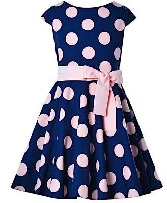 Mädchen Kleid Festlich Party Einschulung Hochzeit Blumenmädchen Punkte blau rosa