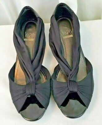 Impo Stretch Roman black cloth and patent leather peep toe sandals shoes SZ 8.5M