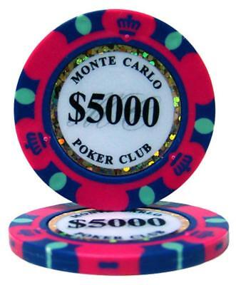 100 Pink $5000 Kings Casino 14g Clay Poker Chips New