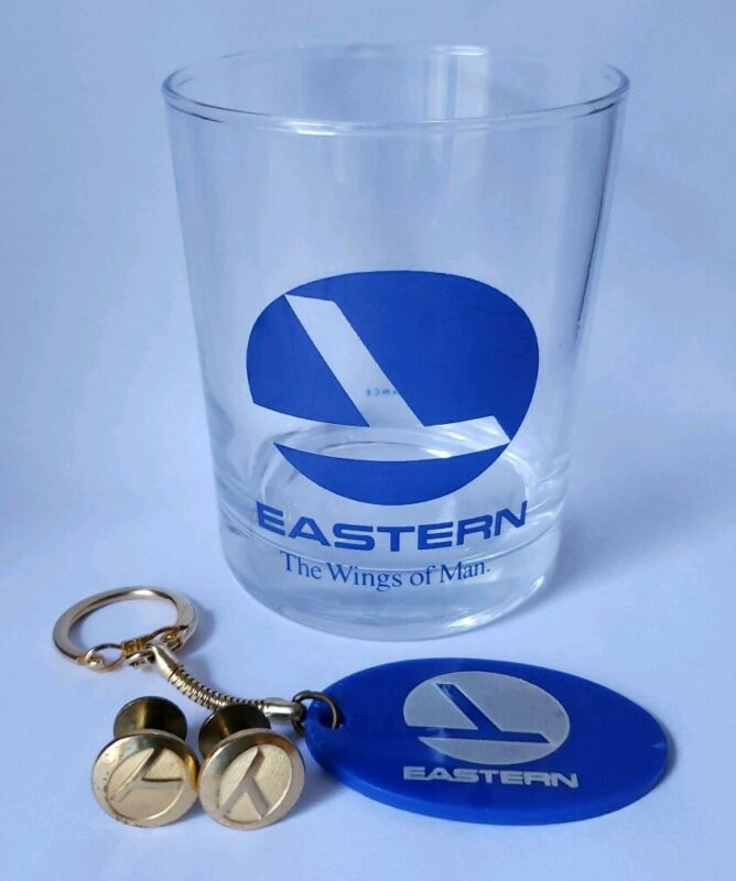 EASTERN AIRLINES UNIFORM/HAT Buttons Glass & Keychain Aviation Vintage